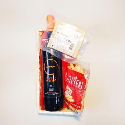 Geschenkset: Dessertwijn Vino de Naranja (75cl.) + Schapenkaas (250gr.) + Picos